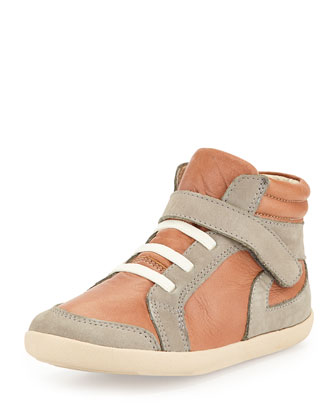 Two-Tone Leather High-Top Sneaker, Tan, Youth