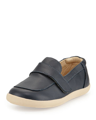 Soft Leather Loafer, Navy, Youth