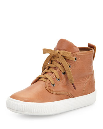 Leather High-Top Sneakers, Tan, Youth
