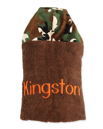 Personalized Camouflage Hooded Towel, Brown