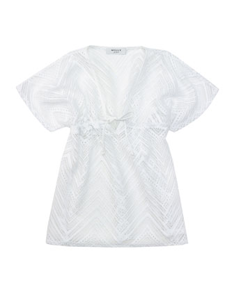 Crochet V-Neck Coverup, White, Sizes 8-14