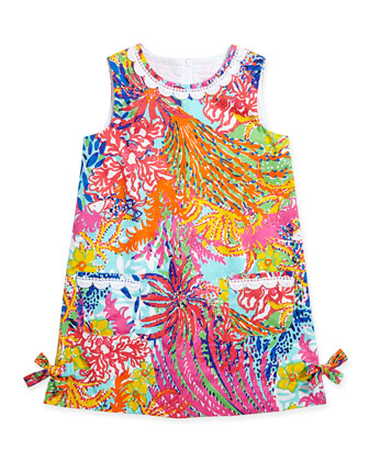 Little Lilly Classic Shift Dress, Multi Fish, Sizes 2-10