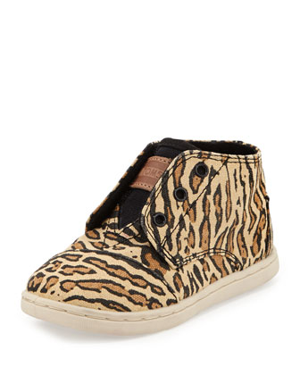 Paseo High-Top Leopard Print Canvas Sneaker, Leopard/Multi, Tiny