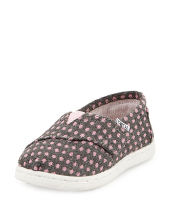 Polka-Dot Fabric Shoe, Gray/Pink Dot, Tiny