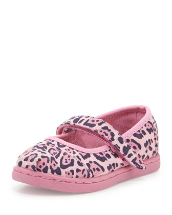 Jaguar-Print Mary Janes, Pink, Tiny