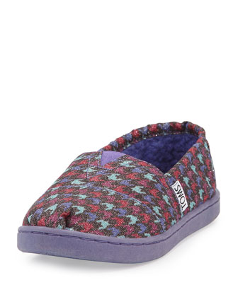 Glimmer Houndstooth Canvas Slipper, Youth, Grey/Multi