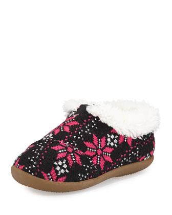 Flake Knit Tiny Slipper, Black/Hot Pink