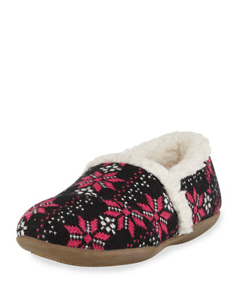 Snowflake Knit Sherpa-Lined Slipper, Hot Pink/Black, Youth