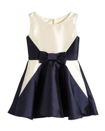 Satin A-Line Dress, Navy, Size 7-14