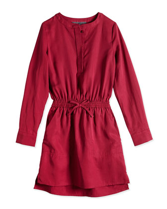 Tencel� Drawstring Shirtdress, Cranberry, Sizes 4-6X