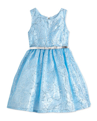 Sequin Lace Party Dress, Blue, Size 7-14