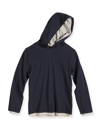 Double-Layer Hoodie, Navy/Gray, 4-7