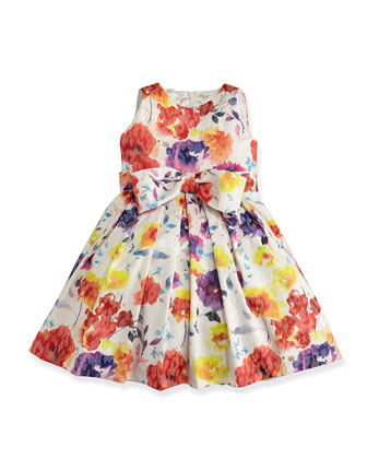 Floral-Print Jacquard Dress, Sizes 2-6X