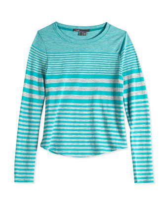 Girls' Striped Shirttail Tee, Gray-Teal, Sizes 4-6X
