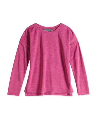 Girls' Space-Dye Tee, Fuchsia, Sizes 4-6X