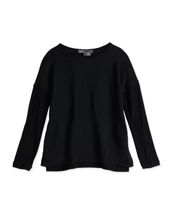 Girls' Chiffon-Front Sweater, Black, Sizes 4-6X