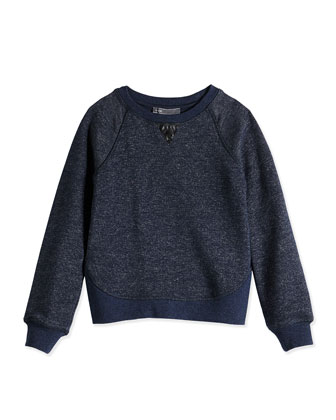 Girls' French Terry Sweatshirt, Blue, Sizes 4-6X