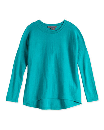 Girls' Crewneck Sweater, Teal, Sizes 4-6X