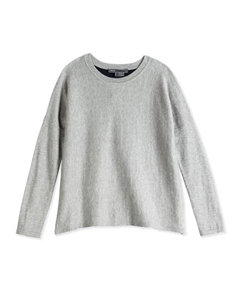 Girls' Colorblock Back Crewneck Sweater, Gray/Navy, Sizes 4-6X