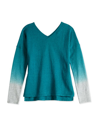 Girls' Dip-Dye V-Neck Sweater, Teal, Sizes 4-6X