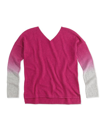 Dip-Dye V-Neck Sweater, Fuchsia, Girls' 4-6X