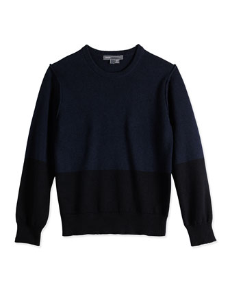 Boys' Colorblock Sweater, Navy/Black, Sizes 4-7