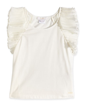 Sleeveless Jersey Tank w/ Chiffon Detail, Off White, Size 2-6