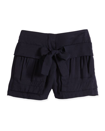 Pleated Shorts w/ Tie Detail, Navy, Size 2-6