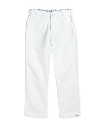 Rolled-Cuff Slim-Fit Pants, White, Sizes 2-8