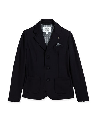 Stretch-Knit Blazer w/ Pocket Square, Indigo, Size 2-8