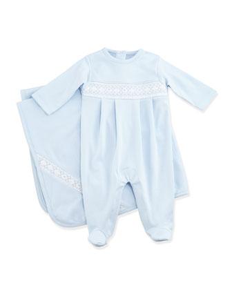 Classic Baby Distinct Footie & Blanket, Blue