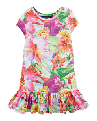 Floral-Print Fit-and-Flare Cotton Jersey Dress, Multicolor, Size 2-6X