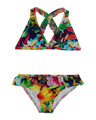 Floral-Print Two-Piece Swimsuit, Navy/Multicolor, Size 2-6X
