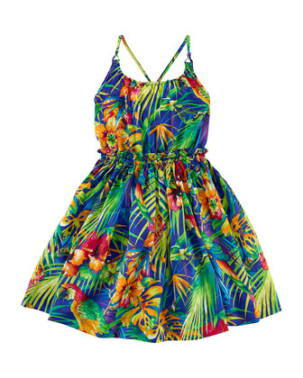Floral-Print Charmeuse Dress, Navy/Multicolor, Size 2-6X