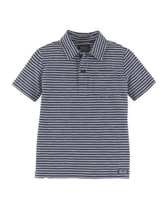 Short-Sleeve Striped Slub Jersey Tee, Navy, Size 2-7