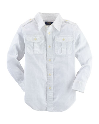 Long-Sleeve Basket-Weave Military Shirt, White, Size 2-7