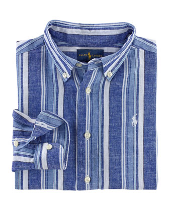 Long-Sleeve Striped Boys' Dress Shirt, Blue/Multicolor, Size 2-7