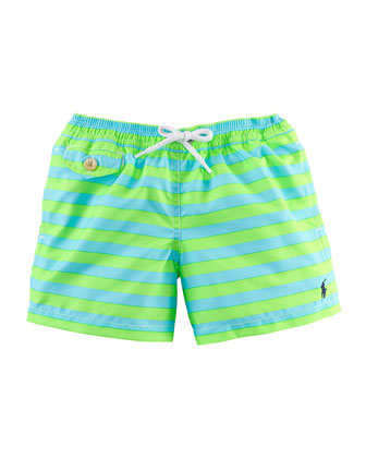 Traveler Striped Swim Trunks, Size 2-7