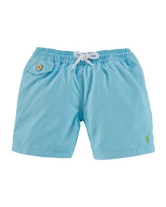 Traveler Solid Drawstring Swim Trunks, Size 2-7