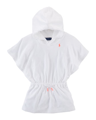 Hooded Cotton Terry Coverup, White, 9-24 Months