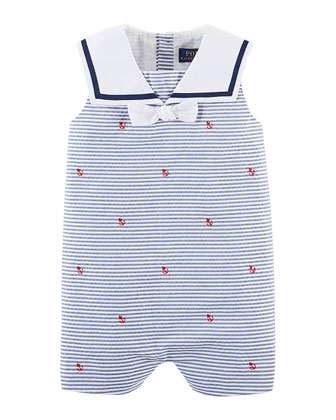 Sailor Striped Pincord Shortall w/ Schiffli Embroidery, Navy, Size 3-24 Months