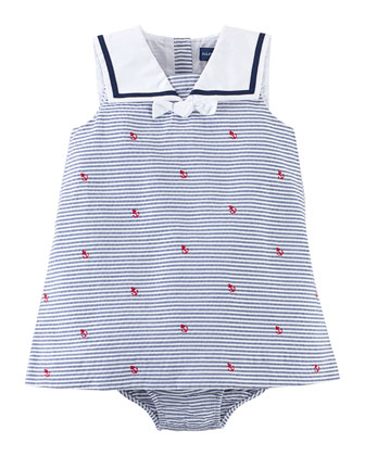 Sailor Striped Pincord Dress w/ Schiffli Embroidery, Navy, Size 3-24 Months