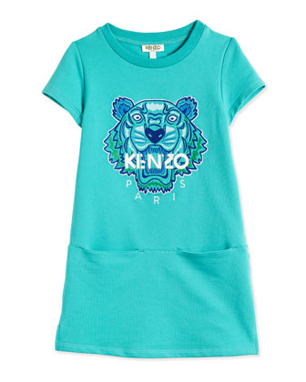 Short-Sleeve Terry Dress w/ Tiger, Turquoise, Size 2-5