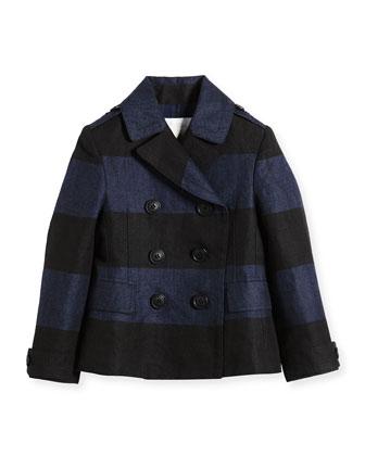 Striped Woven Linen Peacoat, Canvas Blue/Black, Size 4-14