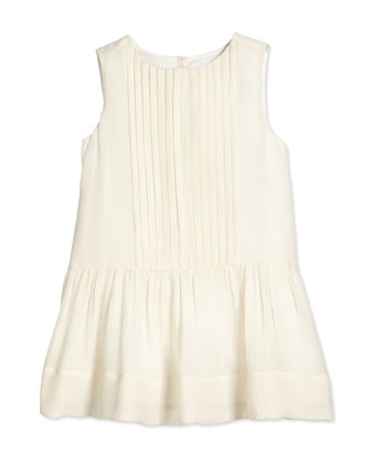 Filma Sleeveless Silk Shift Dress, Parchment, Size 4Y-14Y
