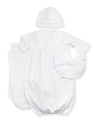 Sweet Moments White Gown, Hat, Bib & Blanket