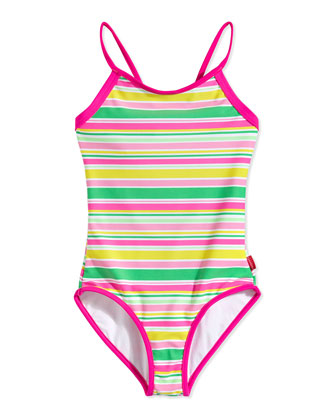Striped Loop-Back One-Piece Swimsuit, Multi, Sizes 0-7