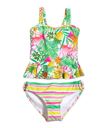 Tropical-Print Two-Piece Tankini Swimsuit, Multicolor, Size 6-16