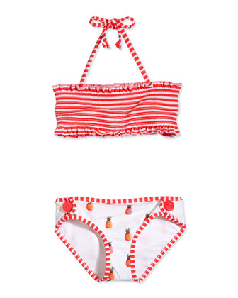 Reversible Two-Piece Swimsuit, White/Multicolor, Girls' 0-7