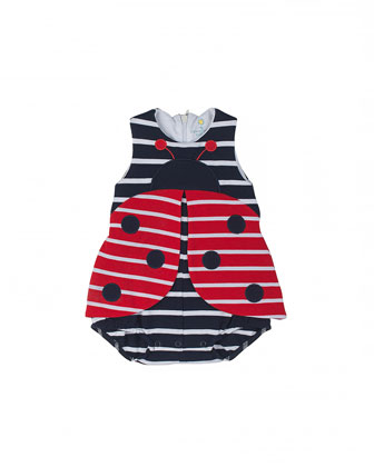 Striped Pique Ladybug Bodysuit, Red/White/Navy, Size 3M-18M